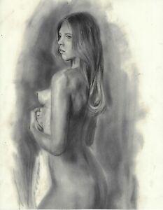 original drawing 29 x 38 cm 169PY art samovar Charcoal female nude sketch Modern