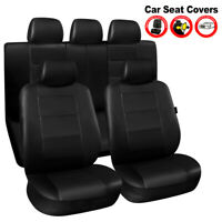 11X Black Car Seat Covers Full Set Protectors Side Airbag Compatible Universal