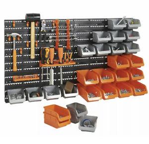 44pc Wall Mounted DIY Garage Organiser Storage Rack Bin Hook Panel  Work Garage