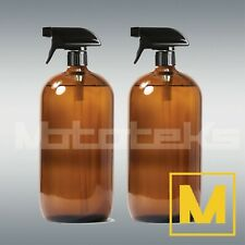 2 Pack Amber Glass Spray Bottles 8/16/36oz Brown Round Mist Refillable Container