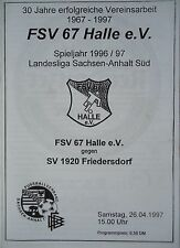 Programm 1996/97 FSV 67 Halle - SV 1920 Friedersdorf