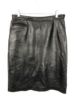 Rem Garson Leather Pencil Skirt Womens Black Knee Length Back Slit Zipper Career