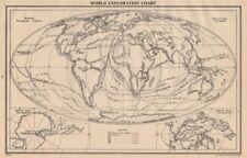 WORLD EXPLORATION. Explorers routes dates centuries. BARTHOLOMEW 1944 old map