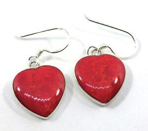 Koralle Herz Ohrringe Rot * Schaumkoralle Ohrhänger 925er Sterling Silber Neu