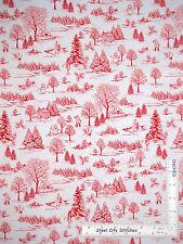 Christmas Tree People Scenic Red Cotton Fabric Studio E Wnter Essentials - Yard