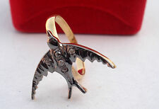 Victorian 0.10ct Rose Cut Diamond Wedding Bird Shape Precious Ring