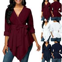 Women Ladies Peplum Tops Long Sleeve Belt Tie Shirt Casual Irregular Hem BloBLUS