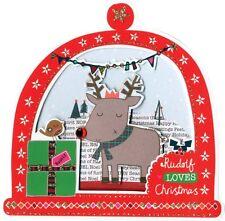 Caja de 5 Tarjetas de Navidad snowglobe en forma de Rudolph acabados a mano segunda naturaleza