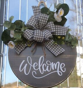 """Welcome Round Front Door Hanger Everyday Farmhouse Door Wreath Wall 18"""""""