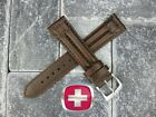 19mm SWISS ARMY CAVALRY MILITARY Leather Strap Dark Brown Watch Band 19 mm