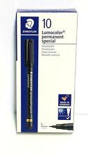 Staedtler Lumocolor Permanent Special Marker Black Super Fine Box of 10 ea 319S9