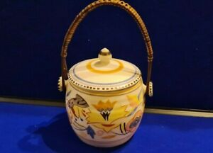 Poole Biscuit Barrel with Wicker Handle 1930s Phyliss Randall