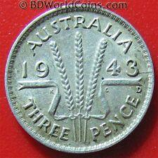 AUSTRALIA 1943 D 3 PENCE SILVER AUSTRALIAN COLLECTABLE WORLD COIN KM# 37 / 16mm