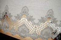 "White Cotton Lace Fabric Floral Hollow Embroidered DIY Dress Fabric 49"" 1 Yard"