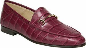 Sam Edelman Women Slip On Horse Bit Loafers Loraine Berry Croc Leather