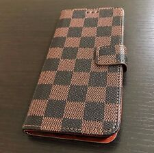 For Samsung Galaxy S8 - Card Wallet Diary Pouch Phone Case Brown Checker Plaid