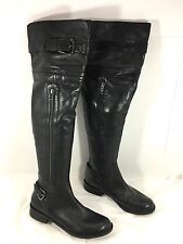 Steven Steve Madden Sabra Belted & Zippers Over the Knee High Boots Black Sz 6