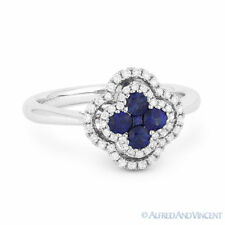 Right-Hand Flower Ring in 18k White Gold 0.58 ct Sapphire Cluster & Diamond Pave
