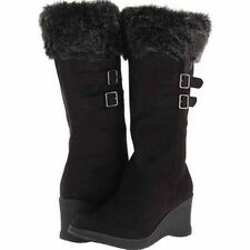 Unionbay Tower-O Womens Black Wedge Boots With Fleece Collar SZ – 8.5