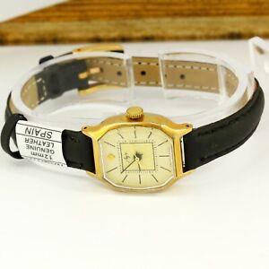 LUCH 1809 mechanical women's ladies USSR Soviet gold plated wristwatch 17 jewels
