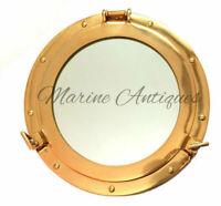 "12"" Maritime Brass Porthole Round Window Glass Nautical Boat Ship Porth Mirror"
