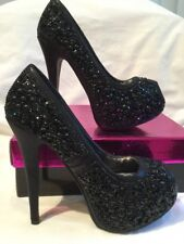 Black Glittery Sparkly Sequin Ladies High Platform Heels Shoes UK Size 5 BNIB