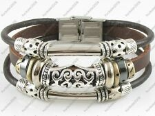 Gorgeous Surfer Tribal Brown Genuine Leather Bracelet Wristband Women w/Clasp #2