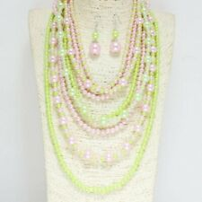 Long Multi Strand Pink and Green Pearl Fashion Necklace with Earrings AKA
