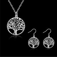 New 925 Silver Filled Tree of Life Charm Pendant Necklace Earring Jewelry Gift H