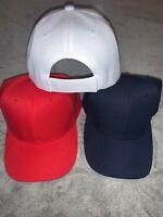 Plain Baseball Caps 3 piece set - Curved Visor ADJ size (R,W,B) - Blank Hat