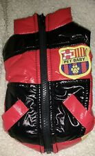 Dog Puppy Coat Gilet Quilted red / black  8 in back no hood tea cup xxxs