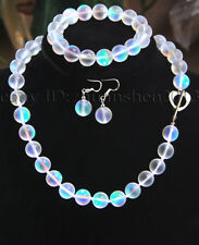 6-12mm White Gleamy Rainbow Moonstone Gems Round Bead Necklace Bracelet Earrings