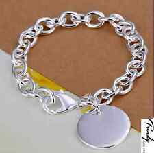 Women Chain Round Pendant 925 Sterling Silver Charm Bangle Cuff Bracelets #21