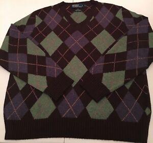 Mens Ralph Lauren Argyle Sweater Size XL