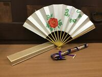 Y0411 OUGI Folding Hand Fan dancing classical Japanese vintage Japan antique