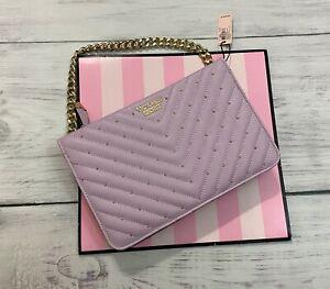 Victoria's Secret Studded Purple Crossbody bag - V Pebbled V-Quilt