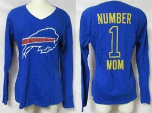 Buffalo Bills Women's Size Medium Number 1 Mom Long Sleeve V-Neck T-Shirt B4 193