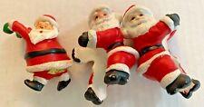 Vintage Christmas Santa Claus Candle Huggers Porcelain Lot Of 3