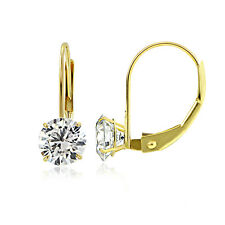 Zirconia Round Leverback Earring, 5mm 14K Yellow Gold 1.00 Cttw Cubic