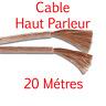 Câble Haut Parleur sous Gaine Transparente Section 2x 1.5 mm² Long 20 Métres