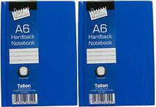 2 X Cuadernos de tapa dura en Azul/Nota Libros Azul 70 GSM-gobernado 50 Hojas-A6