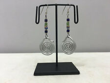 Blue Green Sandcast Beaded Earrings Earrings Masai African Aluminum Loop Coiled