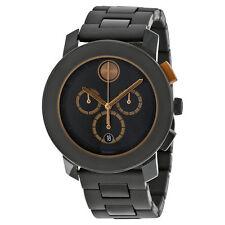 3600271 Movado Men's Bold Round Black Stainless Steel Bracelet Watch Brand New