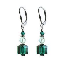 Earrings made w/ Swarovski Crystal Elements. Dark Green 8mm Cube.S. Silver 925