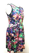 TOPSHOP Sleeveless Floral Skater Summer Dress UK 10 Bright Fit Flare Knee Casual