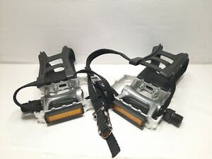 Wellgo L&R Pedals With Reflectors & MT-14-R Toe Clips Used Free Shipping