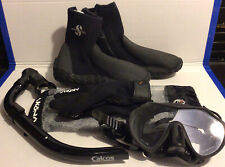 Diving Scuba Boots Surfing Snorkeling Water Sz S + Gloves, Mask and Snorkel