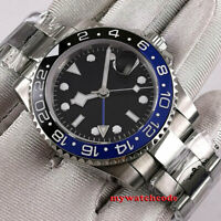 40mm bliger sterile black dial GMT ceramic Bezel sapphire automatic mens watch
