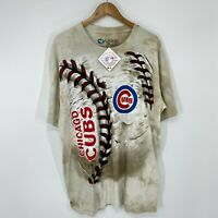Vintage 2000s Chicago Cubs All Over Print Liquid Blue Graphic T Shirt XL NWT