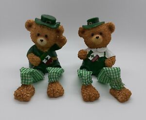 Pair Of St. Patrick's Day Teddy Bear Figurines With Dangling Feet